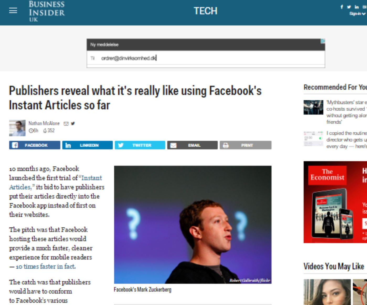 Medier afslører hvordan det virkelig er at være på Facebook Instant Articles