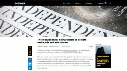 Ny trend? The Independent lader journalister skrive reklametekster