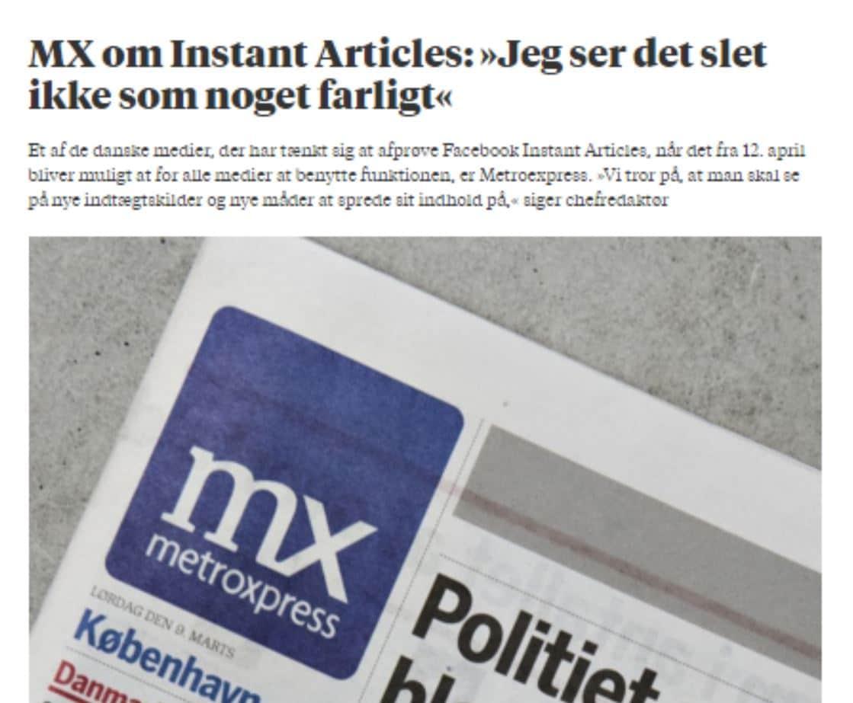 Første danske medie klar til Instant Articles