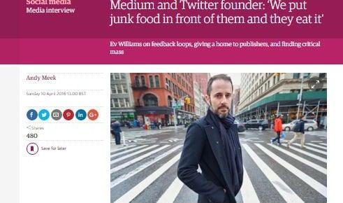 Twitter- og Medium-stifter: Vi sætter junkfood foran dem – og de spiser det.