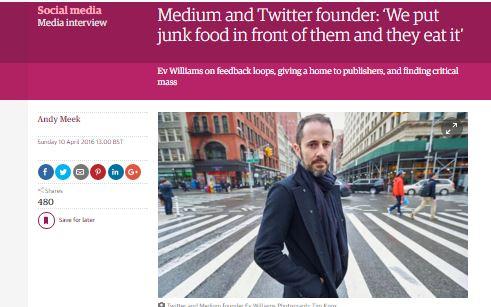 Twitter- og Medium-stifter: Vi sætter junkfood foran dem - og de spiser det.