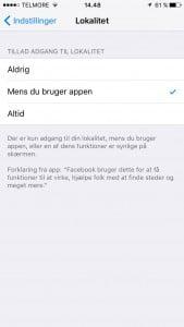 Her er der givet tilladelse til at Facebook kan bruge dine geodata